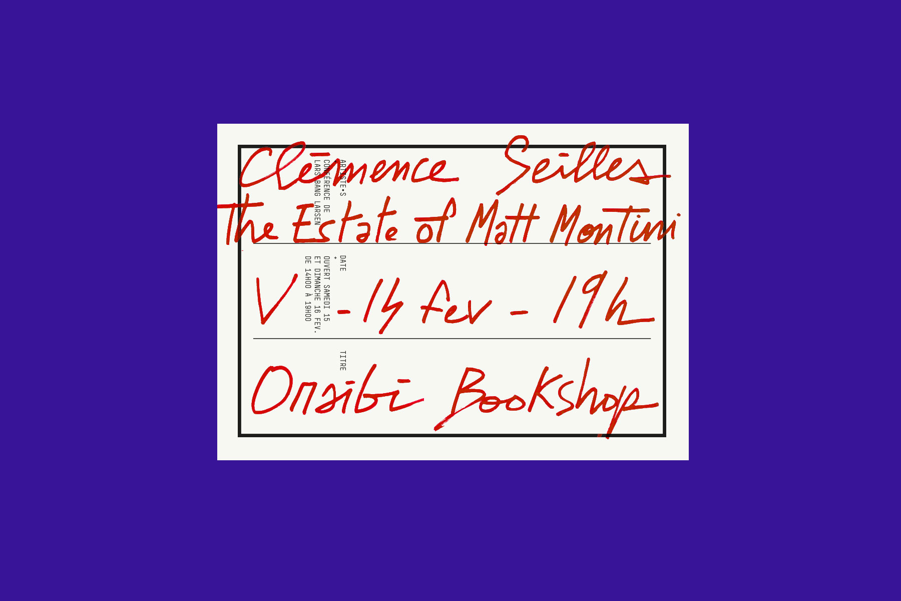 rosabrux_oraibi_bookshop_clemence_seilles_the_estate_of_matt_montini_lars_bang_larsen_yann_chateigne_flyer_clovis_duran